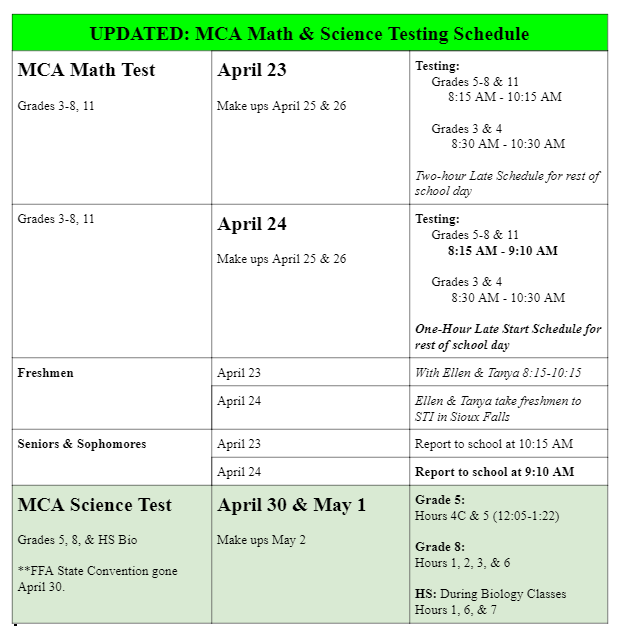 Updated MCA Math & Science Testing Schedule