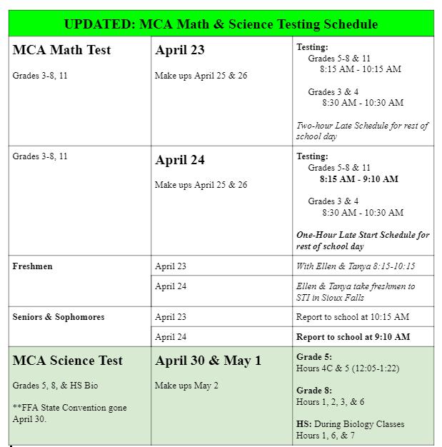 Updated MCA Math & Science Testing Schedule